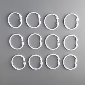 Набор крючков для штор 12 шт, d=5,5 см, цвет белый