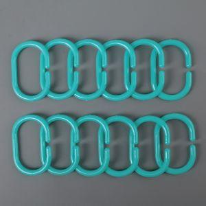 Набор крючков для штор 12 шт, цвет голубой   4093233
