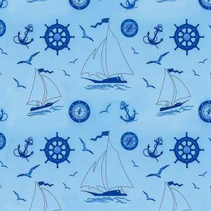"""Штора для ванной 180?180 см """"Кораблики"""", цвет голубой"""