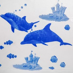 """Штора для ванной 180?180 см """"Дельфины"""", цвет белый"""