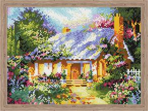 Алмазная мозаика «Сказочный дом среди цветов» 30x40 см