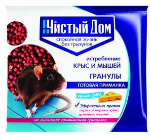 Средство от крыс и мышей Чистый дом гранулы с запахом сыра 100 г