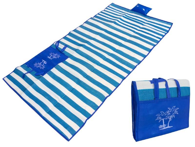 Пляжный коврик с ручками для переноски, 150х170 см. Цвет  Синий, без полос