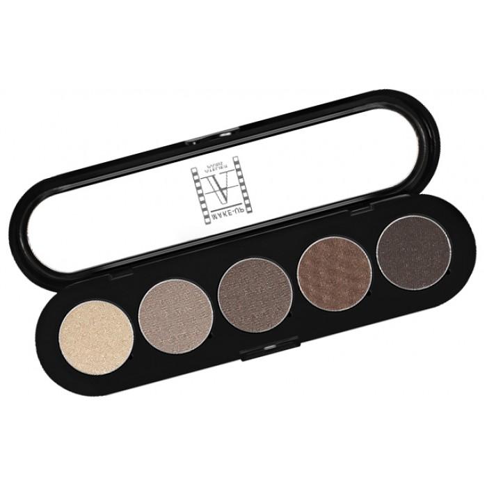 MAKE-UP ATELIER PARIS Тени прессованные палитра Palette Eyeshadows Серо-бежевые Т24 10 г