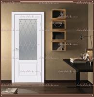 Межкомнатная дверь SCANDI 2V Остекленное Эмаль RAL 9003 Белый, стекло - Ромб  светлый :