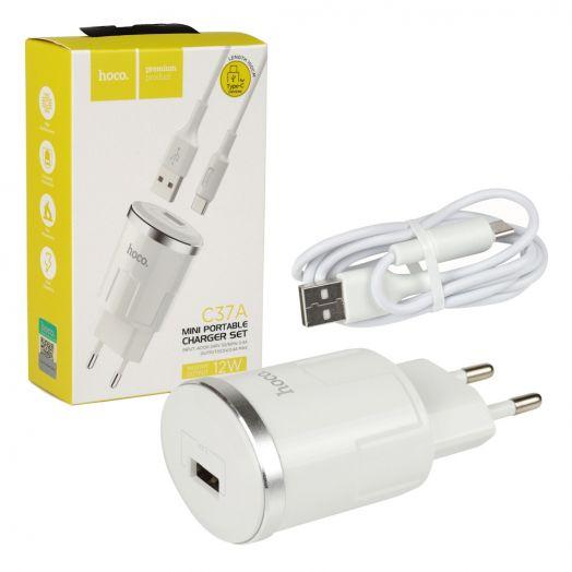 Сетевое зарядное устройство Hoco C37A Thunder power, 1xUSB + кабель USB-Type-C, белый