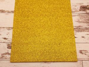 """Фоамиран """"глиттерный"""" Китай, толщина 2 мм, размер 20x30 см, цвет № Ф003 желтый (1 уп = 10 листов)"""