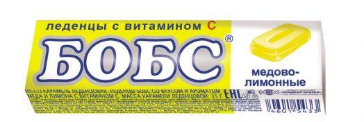 Бобс 35г мед-лимон леденцы 24*12  (BS-3-2)