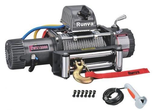 Лебёдка электрическая 12V Runva 12000 lbs 5700 кг (стальной трос)