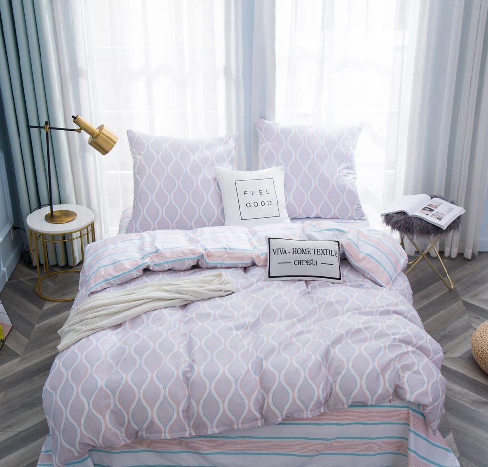 Комплект постельного белья 1.5 спальный Сатин C356