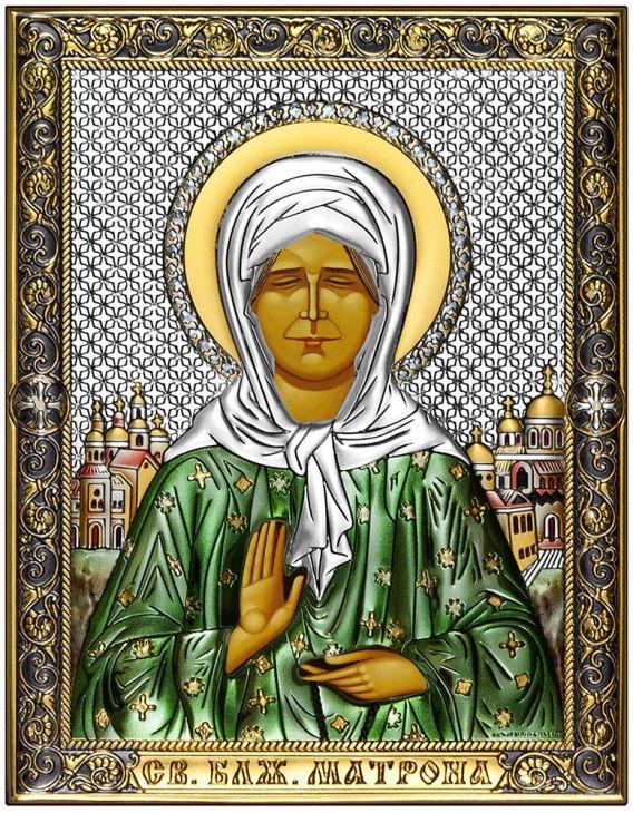 Икона Святая Матрона Московская (Италия, 14х18 см.)