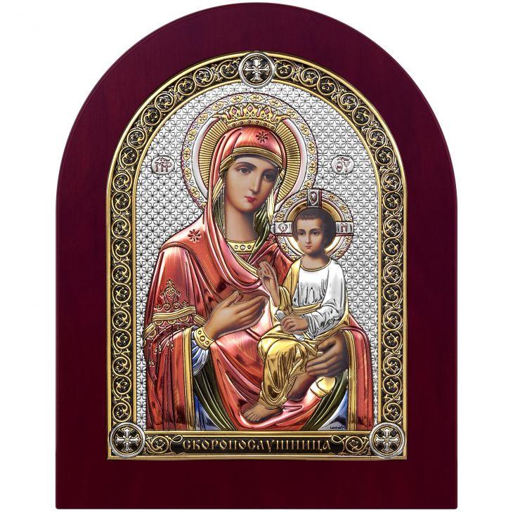 Серебряная икона Скоропослушница (Италия)