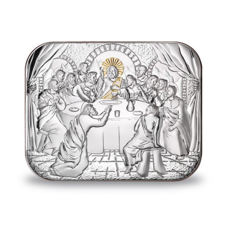 Серебряная Миниатюра Тайная вечеря (Италия, 14х11 см)