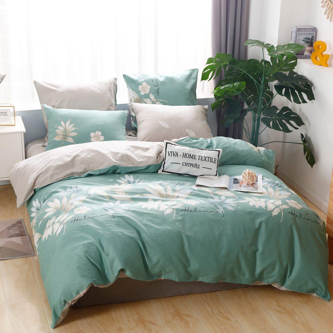 Комплект постельного белья Делюкс  Евро  Сатин на резинке LR207