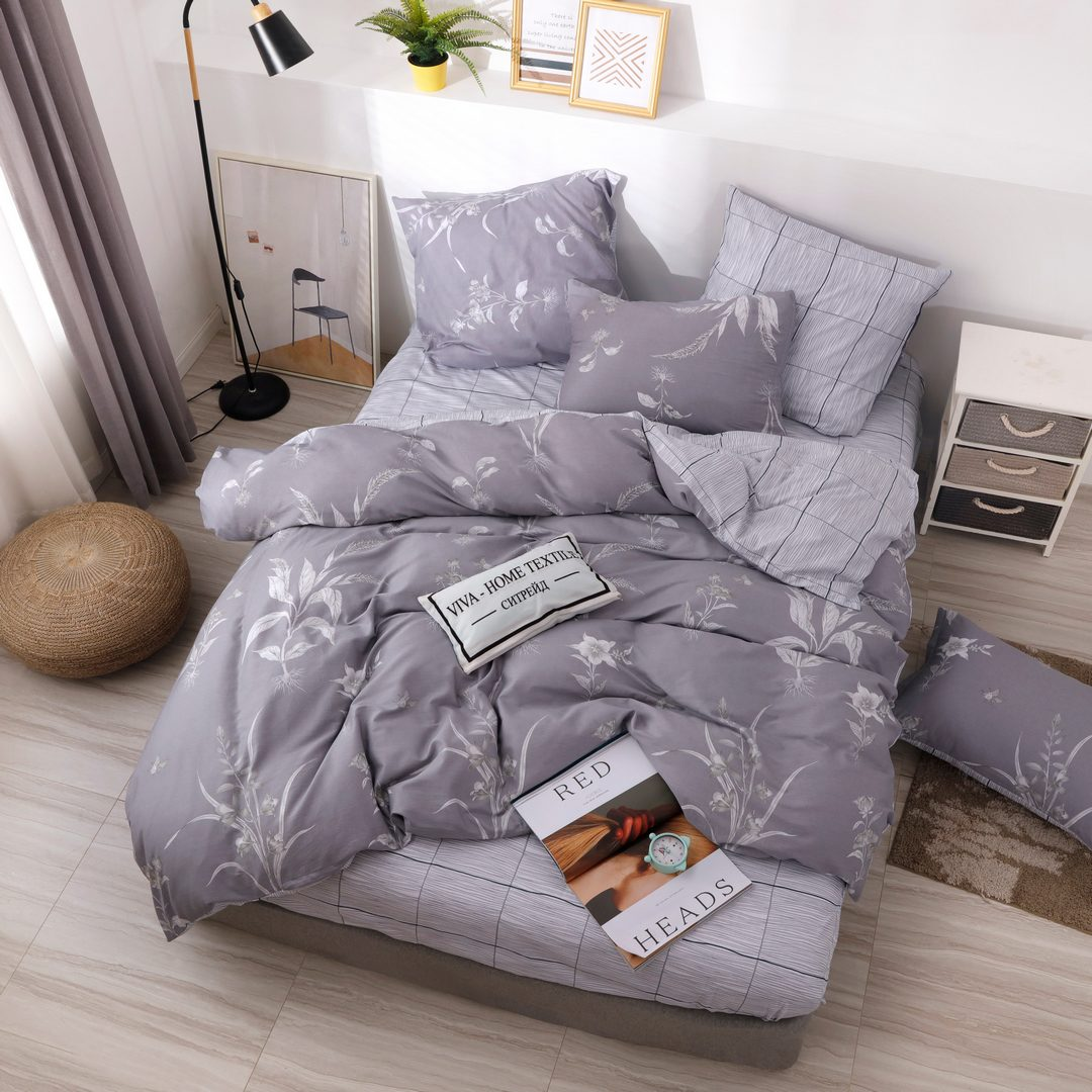 Комплект постельного белья Делюкс  Евро  Сатин на резинке LR216