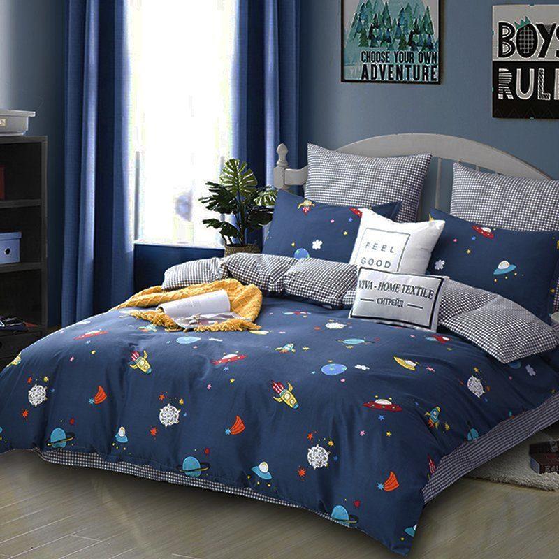 Комплект постельного белья Делюкс 2 спальный Сатин на резинке LR173