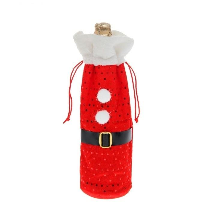 Новогодний наряд для бутылки Дед Мороз