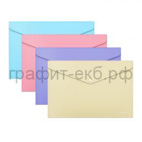 Конверт А4 на кнопке ErichKrause Diagonal Pastel полупрозрачный 50322