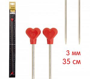 Спицы ADDI прямые МЕТАЛЛ с пластиковым наконечником, 2 штуки в наборе (100-7)