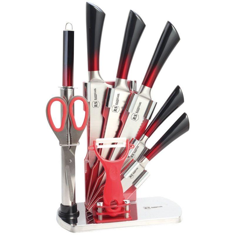 Набор ножей из нержавеющей стали на подставке RSKN 8004-09 /9 пр./(х6) Rainstahl