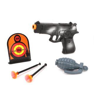 Игр.набор Полиция, пистолет, стрелы с присосками 2шт., мишень, граната, пакет