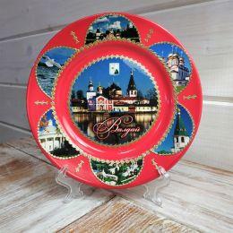 Тарелка сувенирная «Валдай.Иверский монастырь.Коллаж»(красная)