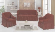 "Набор чехлов для дивана ""BULSAN"" + 2 кресла  (кирпичный) Арт.1799-9"