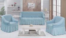 """Набор чехлов для дивана """"BULSAN"""" + 2 кресла  (бирюзовый) Арт.1799-11"""