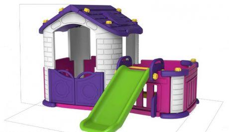 Игровой домик с забором и горкой Toy Monarch CHD-354
