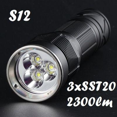 Convoy S12 3xLuminius SST20, ≈2300 Лм, чёрный (3 оттенка света)
