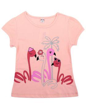 """Футболка для девочек 8-12 лет Bonito """"Фламинго"""" светло-розовая"""