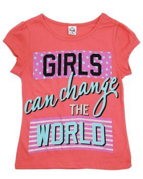 """Футболка для девочек 8-12 лет Bonito """"Girls the World"""" коралловая"""