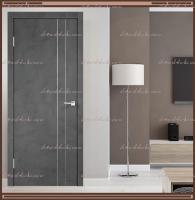 Межкомнатная дверь TECHNO М2 с вертикальным молдингом и алюминиевой кромкой + замком MORELLI 1895P SN Муар тёмно-серый :