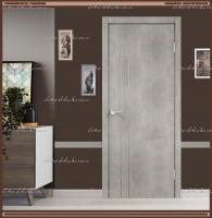 Межкомнатная дверь TECHNO М2 с вертикальным молдингом и алюминиевой кромкой + замком MORELLI 1895P SN Муар светло-серый :