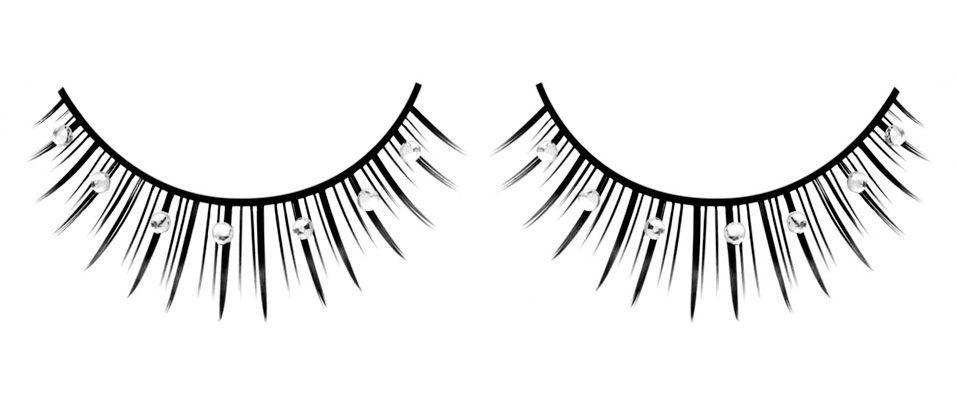 Черные ресницы со стразами