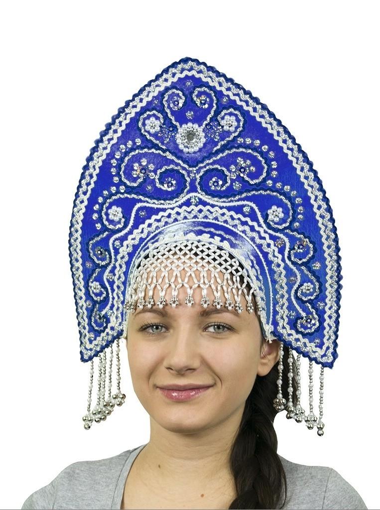 Синий кокошник Ярославна с серебром