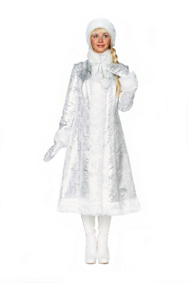 Узорчатый серебряный костюм снегурочки