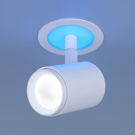 DSR002 9+3W 6500K / Светильник встраиваемый  белый матовый подсветка Blue (DSR002 9W 6500K)