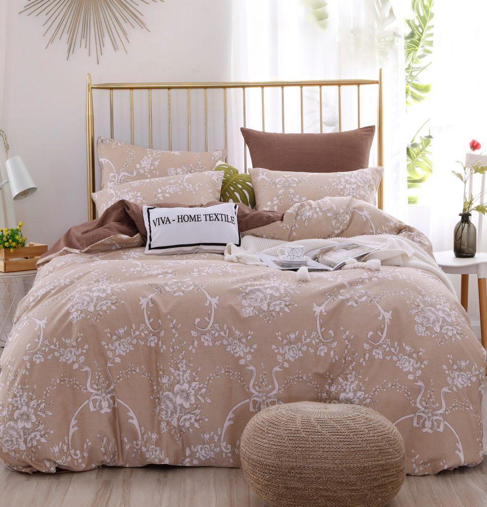Комплект Евро  постельного белья Люкс-Сатин A102