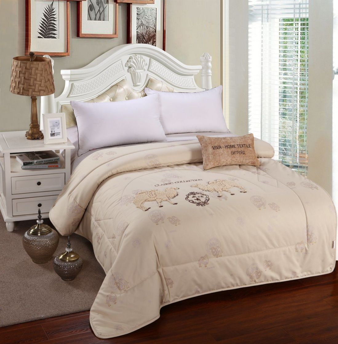 Одеяло 2 спальный Верблюжий пух с вышивкой Classic