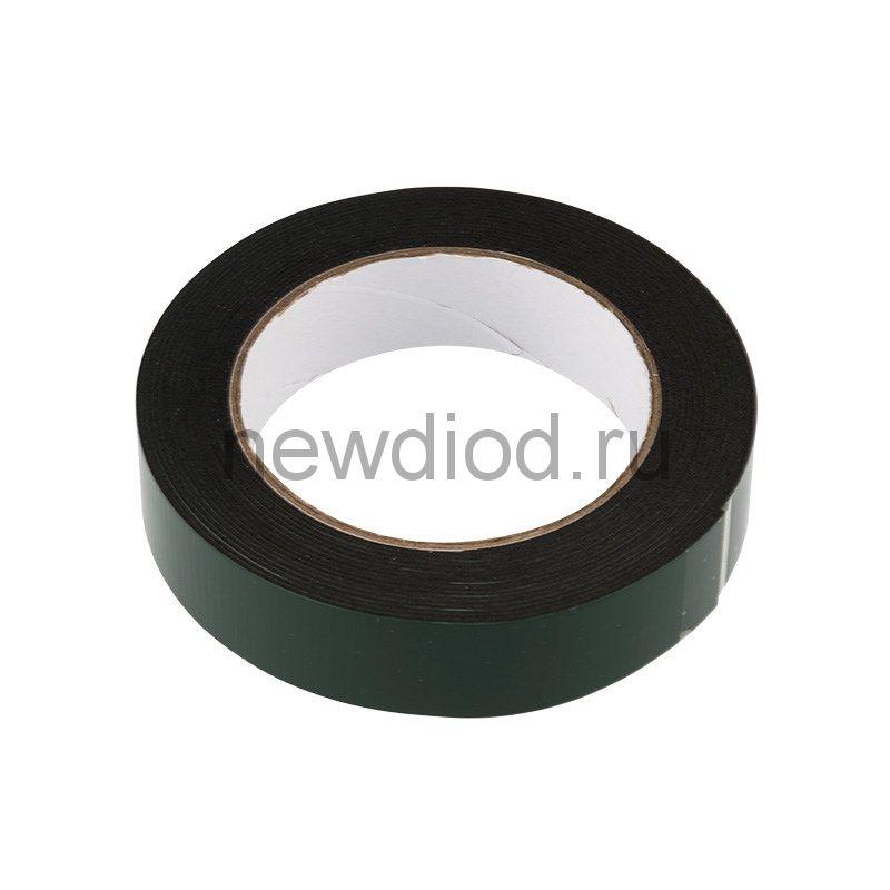 Двухсторонний скотч REXANT, черная, вспененная ЭВА основа, 25 мм, ролик 5 м