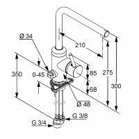 Kludi L-Ine смеситель для кухни 428160577 схема 2