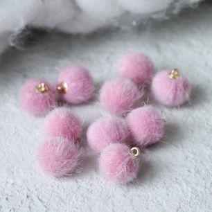 Кукольный аксессуар Бусина-подвеска пушистая розовая