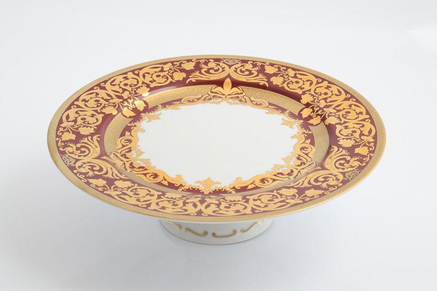 Тарелка для торта на ножке 32 см Natalia bordeaux gold