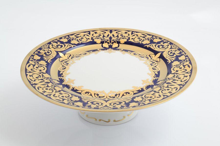 Тарелка для торта 32 см на ножкет Natalia cobalt gold