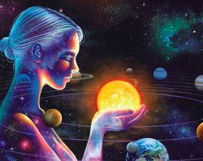 Алмазная мозаика «Солнечная система на ладони» 40x50 см