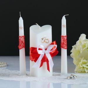 """Набор свечей """"Кружевной"""", красный : Домашний очаг 6.8х15см, Родительские свечи 1.8х17.5см   1624265"""