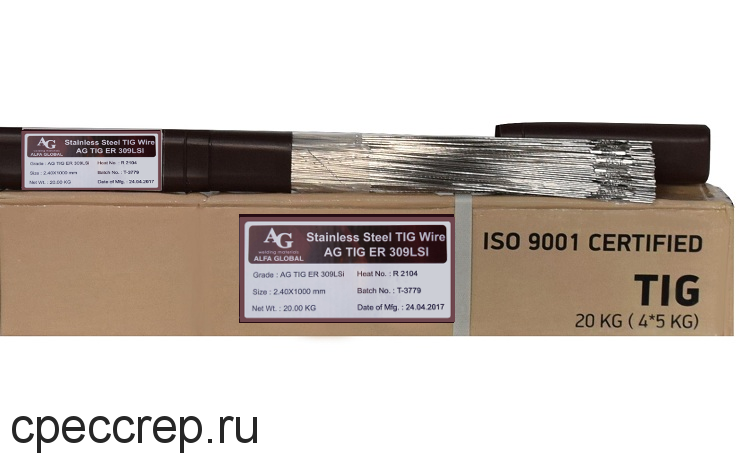 Присадочный пруток AG TIG ER 309LSi d=1,0*1000 туба-5кг