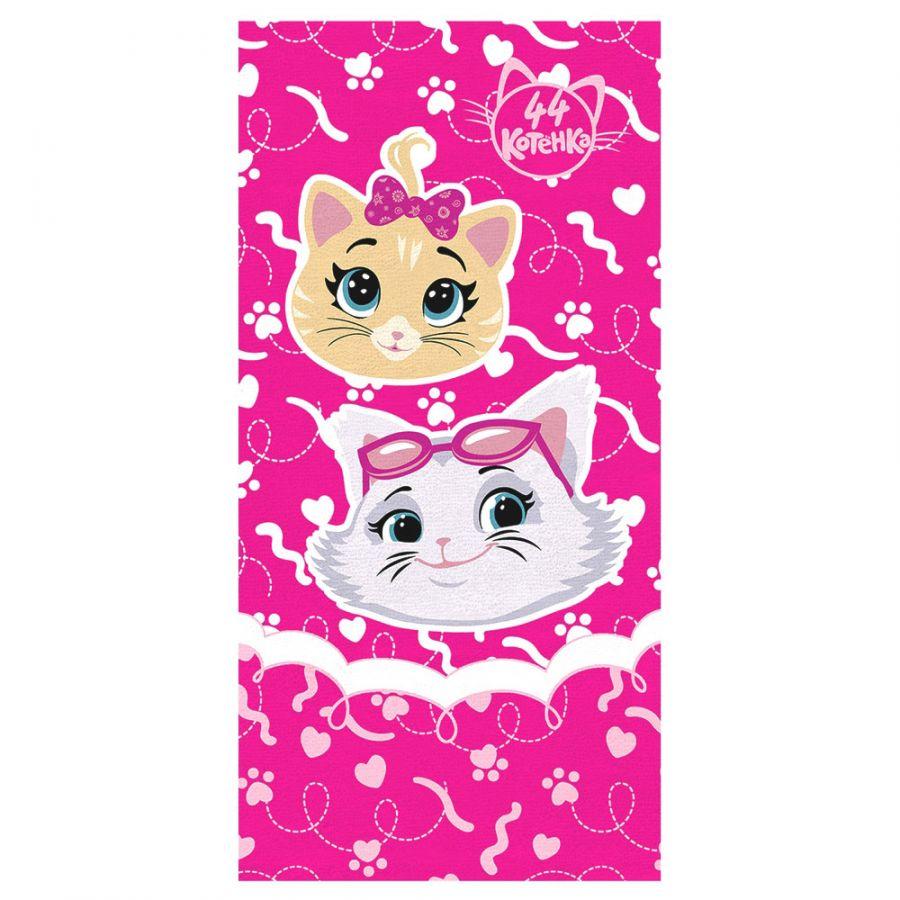 """Детское махровое полотенце """"Девочки. 44 котёнка"""" рис.1141-17 фуксия"""