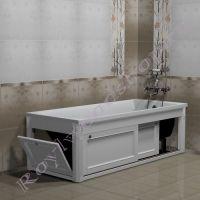 """Экран под ванну """"Руссильон PROVENCE раздвижной, белый"""" 150 см/170 см"""